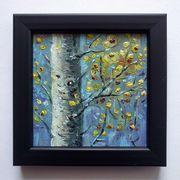 Öl-Leinwand Gemälde Birke kleiner Holzrahmen