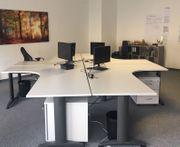 Büroschreibtische gebogen mit Rollcontainer