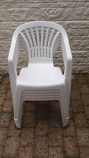 Monoblock Gartenstuhl Gartenmöbel Stuhl Kunststoff Stapelstuhl Garten weiß
