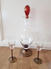 Set Karaffe mit Gläser Glashütte