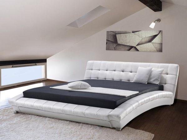 Wasserbett Leder weiß 180 x