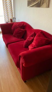 Samt York Sofa Couch Rot