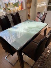 Tisch aus Glas ausziehbar