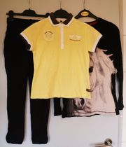 3er Reit-Set Pferde-Shirt Reithose Poloshirt