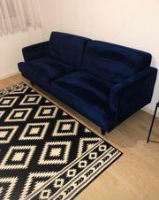 3-Sitzer blau samt