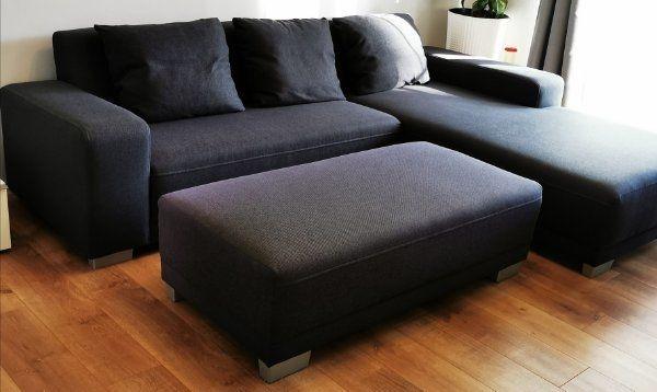 Graue Stoff Eck-Couch mit separatem