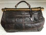 nostalgische Patchwork Reisetasche Leder