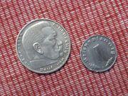 Silbermünze 1 Reichsmark 1 Reichspfennig