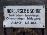 Altes Emailleschild Hörburger Sohne Sanitäre