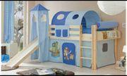 Hochbett Spielbett in blau Motiv