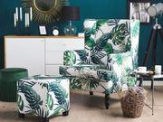 Sessel Polsterbezug weiß grün Blättermuster
