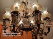 Verkaufe Antik-Kronleuchter aus Messing und