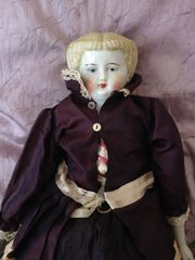 Blonde Biedermeier Puppe China Head