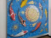Riesiges Gemälde mit Koi Karpfen -