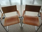 2x Freischwinger Stühle Leder Armlehnen