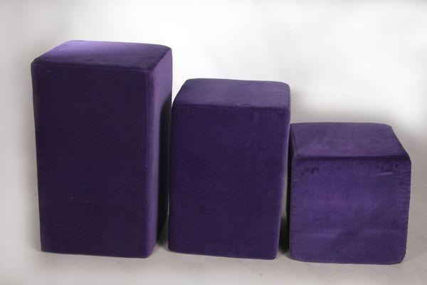 Sitzpolster-Sitzwürfel-Schaumstoffwürfel-velour-lila