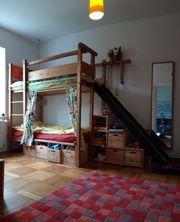 Stockbett mit Rutsche Bettkasten Vorhang
