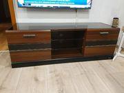 Tv Board Lowboard mit Lederdetail
