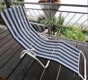 Relaxliege Liegestuhl Campingliege blau-gestreift