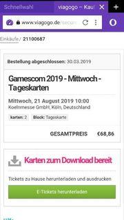 GamesCom Tickets für Mittwoch 21
