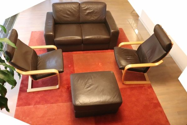 Verkaufe Kombination Ikea Sandhem 2er Ledersofa Hocker 2x Sessel