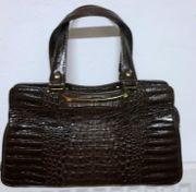 ältere Damenhandtasche Kroko-Leder