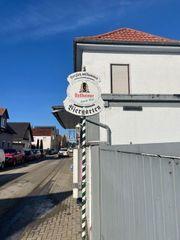 Bellheimer Biergarten Bierstube Schilder Pfosten
