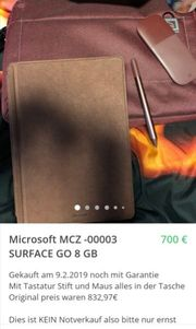 Microsoft MCZ -00003 SURFACE GO