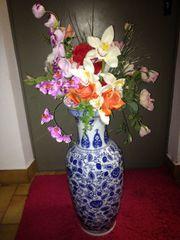 Bodenvase Vase weiß mit blauem