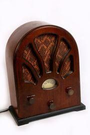 Retro Holzradio Rund NOSTALGIE Metallcama