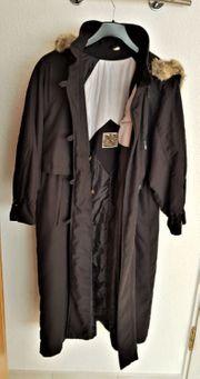 Damen Mantel mit Fell Kapuze