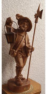 Nachtwächter Schnitzerei Holz Figur