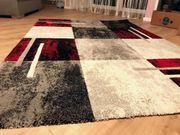 Teppich grau rot weiß 160x230