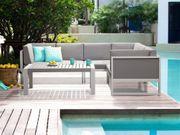 Lounge Set Aluminium weiß 6-Sitzer