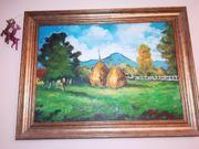 Landschaftsmalerei Heuhaufen Berge