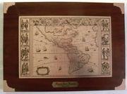 Landkarte Amerika 1636 Holz Messing -