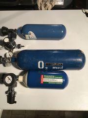 3 Sauerstoffflaschen mit Manometer gebraucht