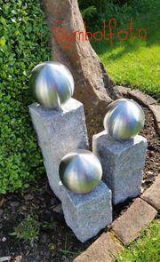 Granit Deko Säulen mit Edelstahlkugel