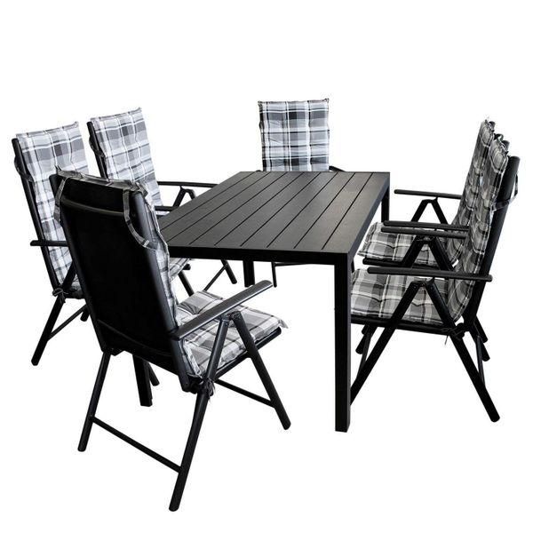 13tlg. Moderne Gartengarnitur - Tisch, Stühle + Stuhlauflagen in ...