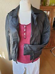 gebrauchte Lederjacke schwarz Gr XL
