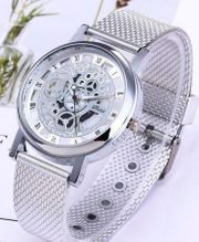 Luxus Herrenarmbanduhr Skelletiert Armband Milanaiseoptik