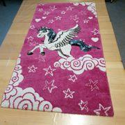 Kinderteppich Rosa Fuchsia Einhorn Teppich