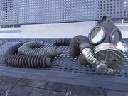 Gasmaske Weltkrieg mit Luftschlauch
