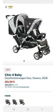 Geschwisterwagen mit Babywanne und Regenschutz