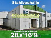 Zweigeschoßige Stahlhalle 28x16x9m Mehrzweckhalle abzutragen