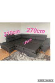 Couch Graue ausziehbare Couch