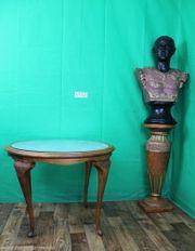 antiker Jugendstil Esstisch mit Glassplatte