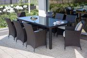 Gartenmöbel Set Rattan dunkelbraun 8-Sitzer