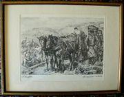 Strieffler Heinrich Pferdegespann Serigrafie B083
