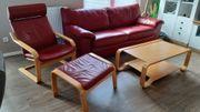Ledersofa Lederwohnlandschaft IKEA weinrotes Echtleder